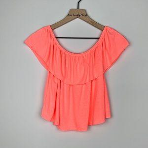 Topshop   Neon Pink Off Shoulder Ruffle Crop Top
